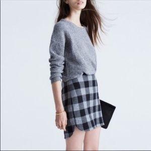 Madewell Plaid Shirttail Skirt Sz 4 Heather Black